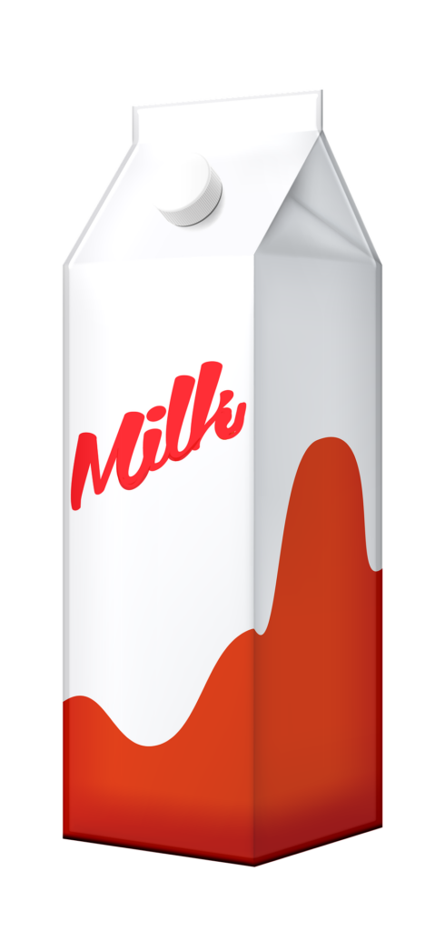 Clip art of milk carton to show that milk is processed and packaged.