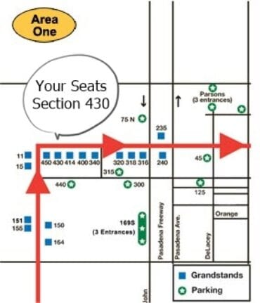 Your seats are in Section 430 (Start of the Parade)
