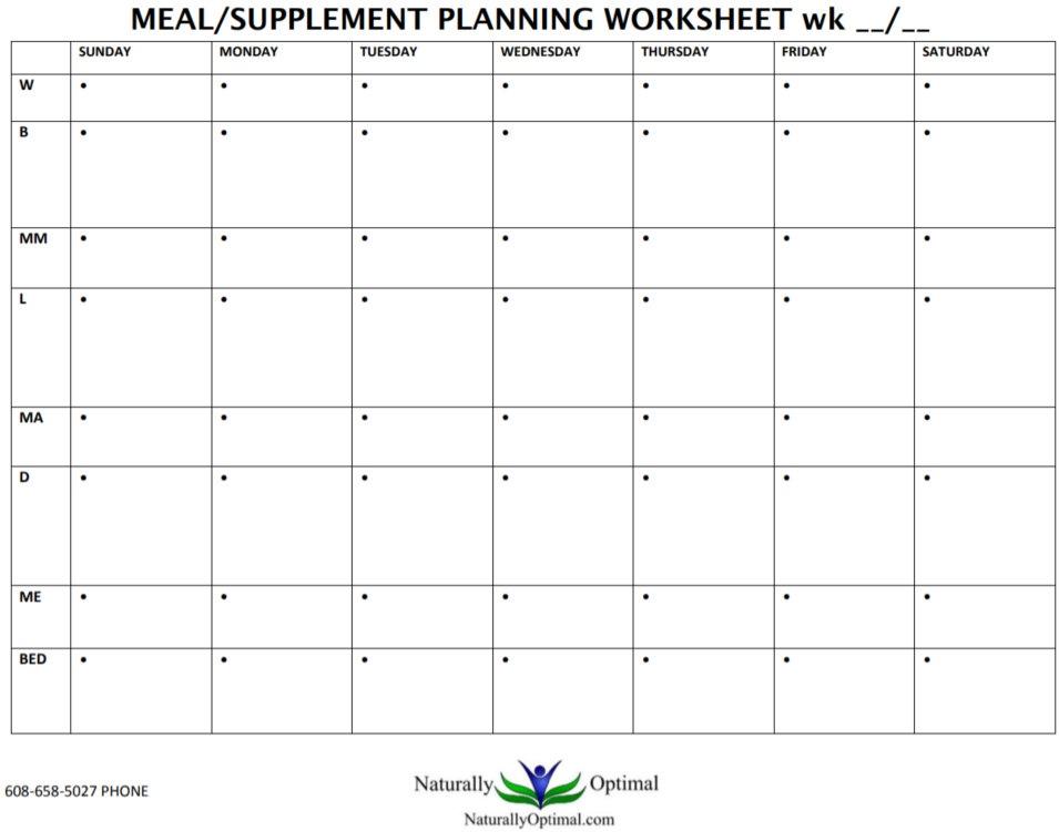 Meal Planning Supplement Worksheet