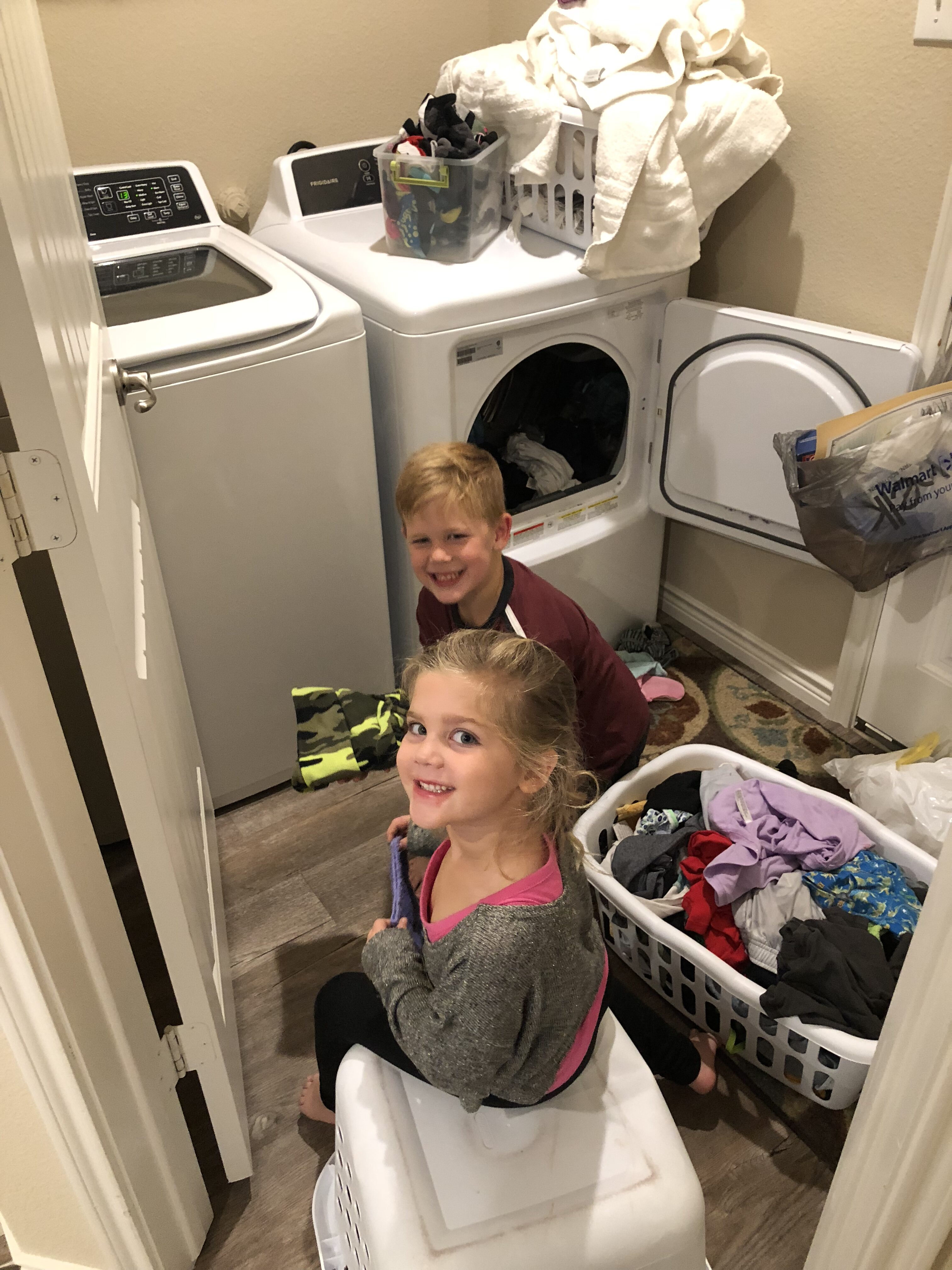 Kiddos in the trenches of chores