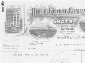The Hirth-Krause leather company sold leather supplies at their Grand Rapids store in the late 1800s.