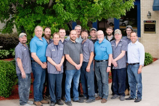 Group photo of the Collision Center 1 team