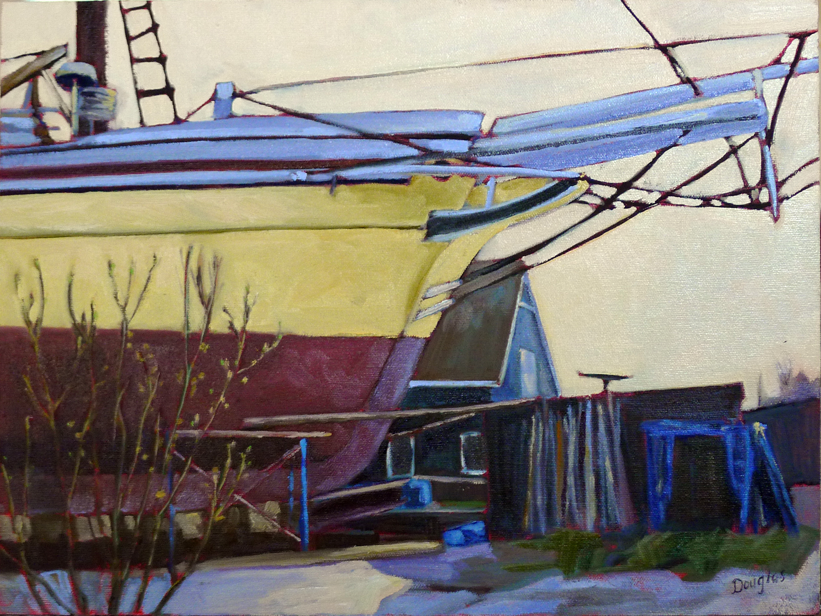 """Big Boned,"" schooner Heritage in drydock, plein air, 12X16, oil on canvasboard."