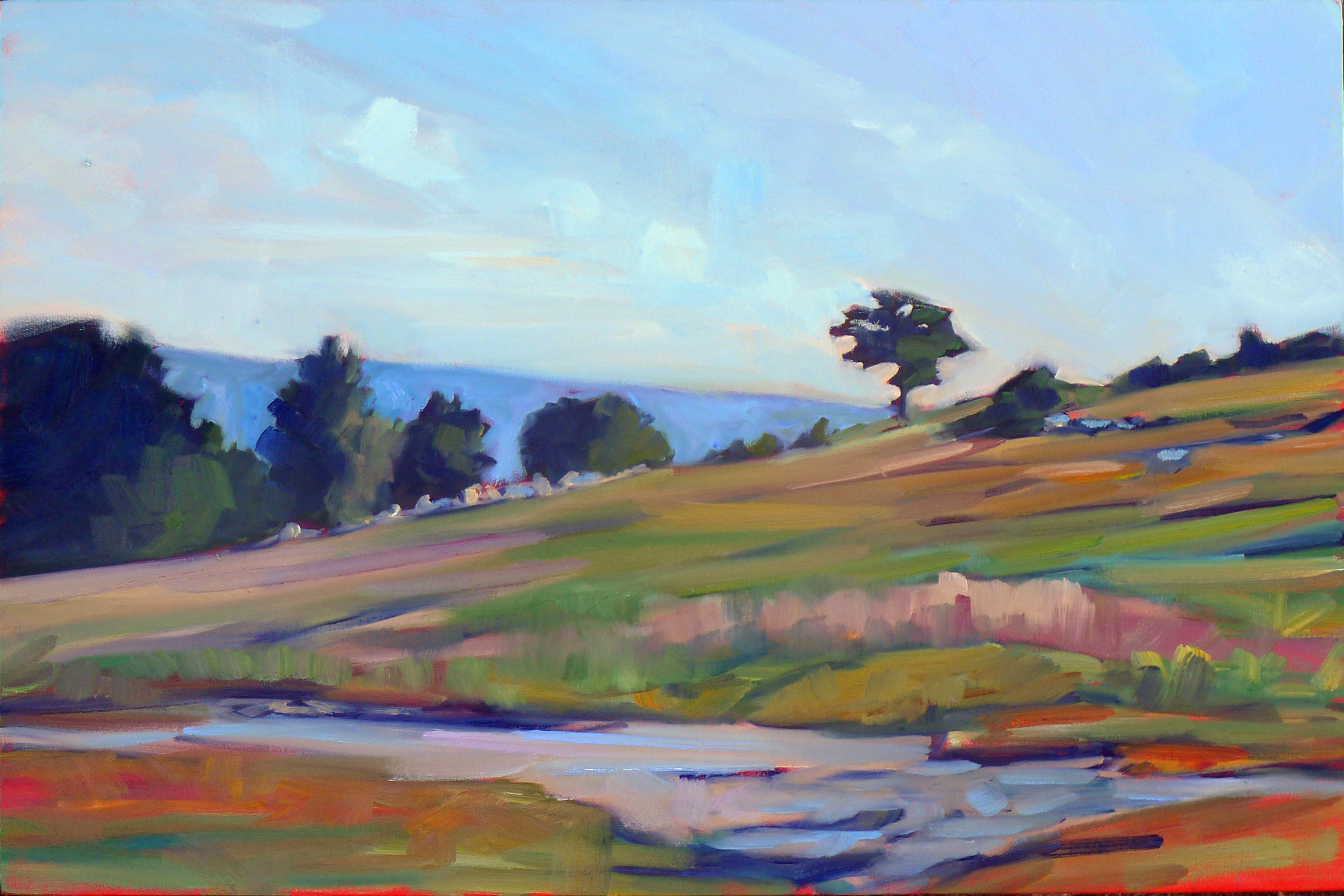 """""""Blueberry barrens, Clary Hill,"""" oil on canvas, 24X36, available."""