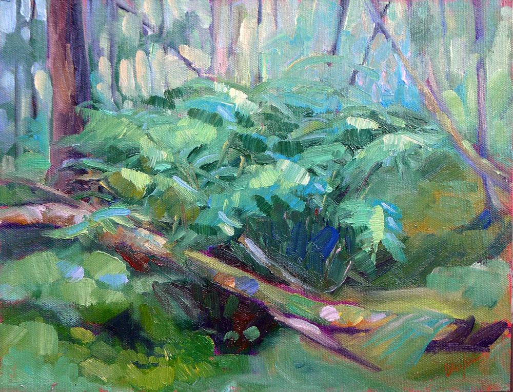 """""""Bracken Fern,"""" 12X9, oil on canvasboard, available."""