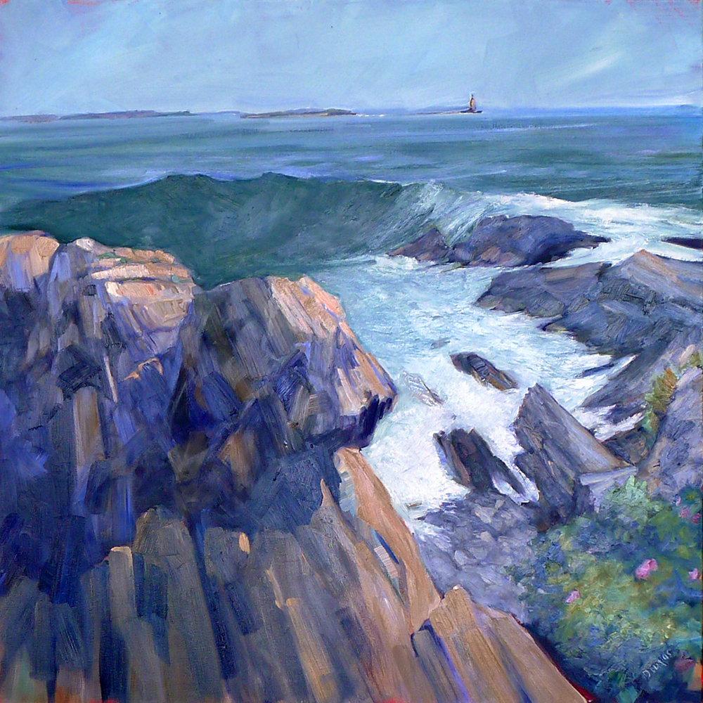 """""""Cape Elizabeth Cliffs,"""" oil on canvas."""