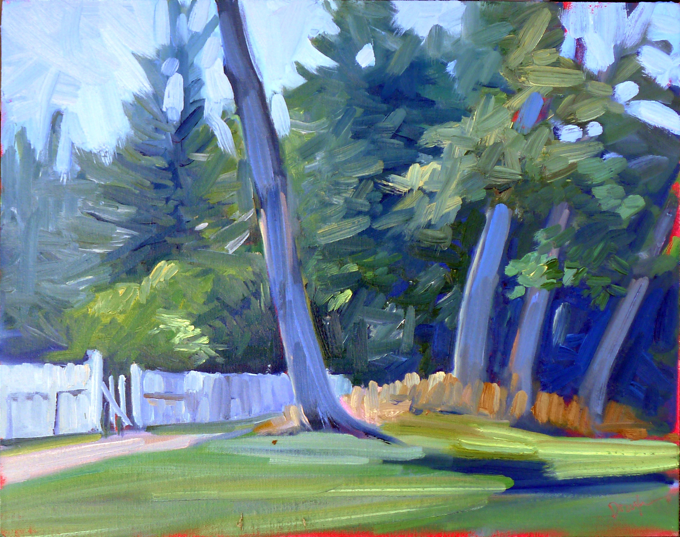 """""""Tom Sawyer's Fence,"""" oil on canvasboard, available."""