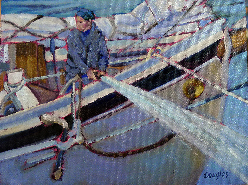 """Coast Guard Inspection,"" plein air, oil on canvasboard."