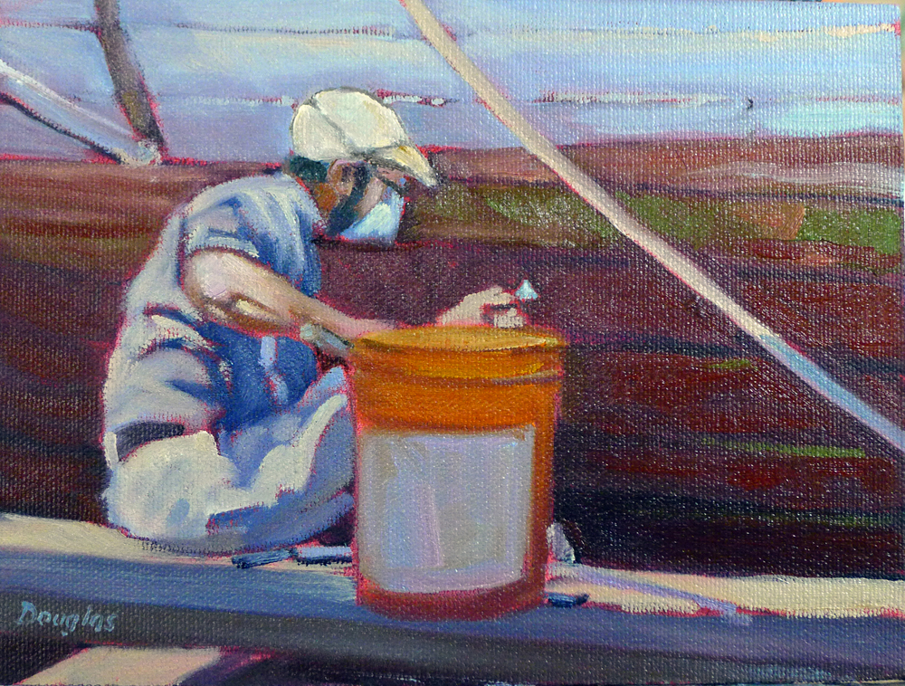 """Packing oakum"", 6X8, plein air, oil on canvas, available."