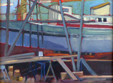 """Steaming planks,"" plein air, oil on canvasboard, available."