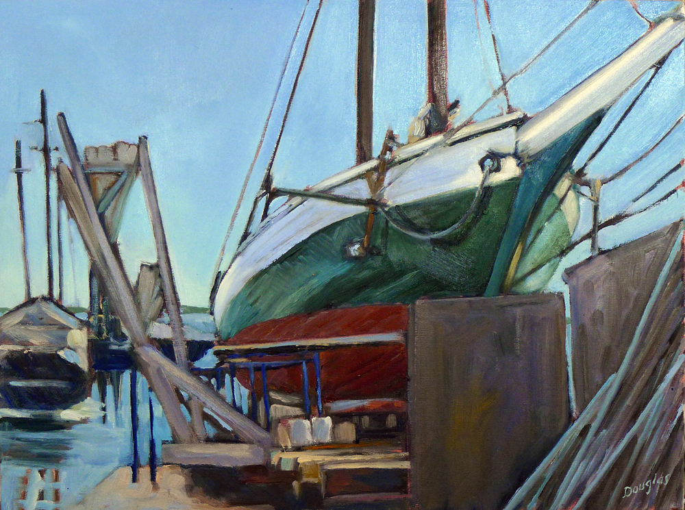 """Steven Tabor in drydock,"" plein air, oil on canvasboard, available."