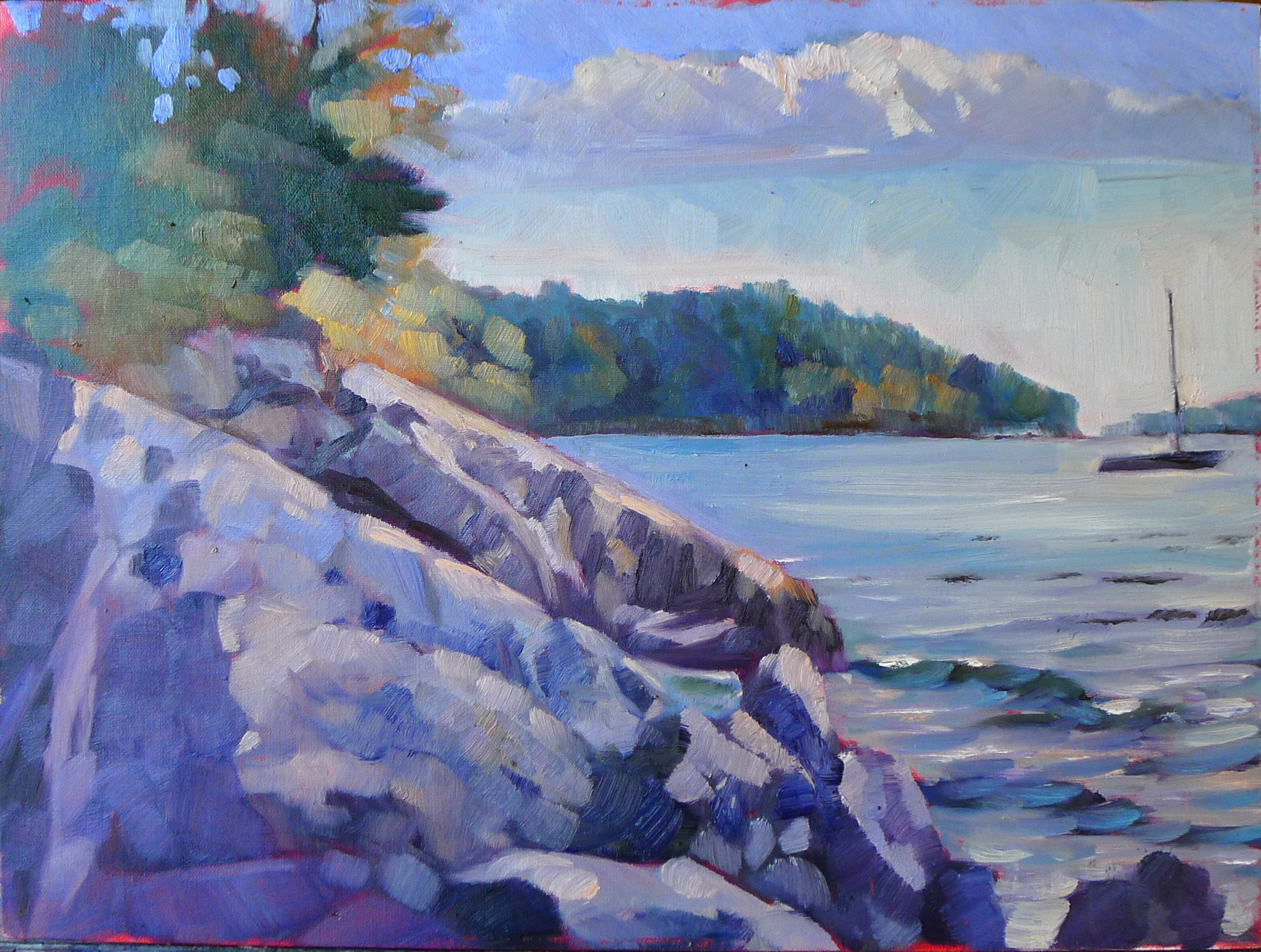 """""""Beauchamp Point in Autumn,"""" oil on canvasboard, available."""