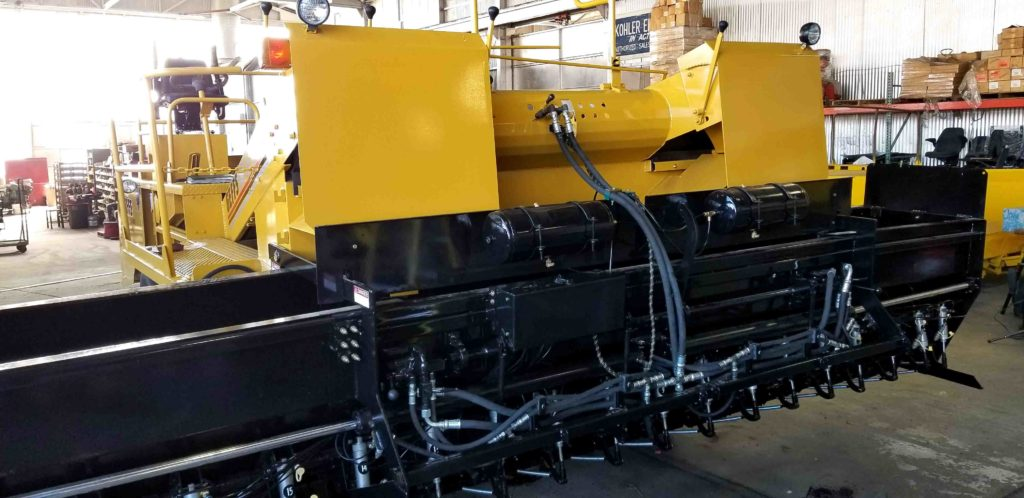image of used chip spreader yellow with expandable hopper
