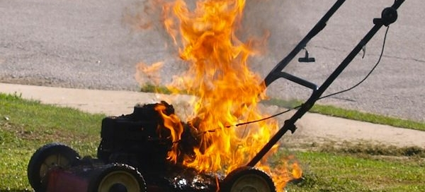 burnt lawnmower - professional sod installation