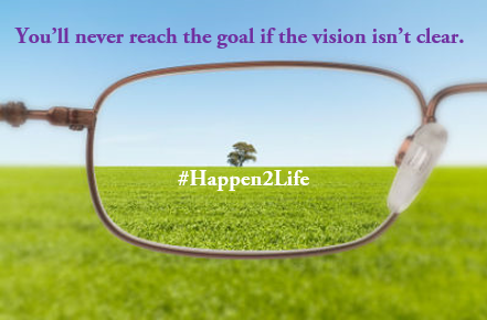 Image showing the prospective from one lens in a pair of glasses that is focused on a tree in the distance. Includes #Happen2Life