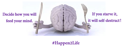 image of a brain witha fork in one hand and a knife in the other hand as if it were preparing to eat. Includes #Happen2Life