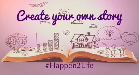 Image of an open book with drawings of a tree, house, airplane in the clouds, graph showing growth and two people with ideas sitting on top of the page. Includes #Happen2Life