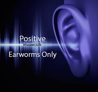 Image of sound waves traveling to an ear. Includes #Happen2Life