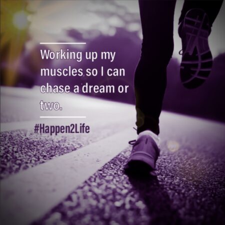 Image of a runner training for a marathon alone. Includes #Happen2Life