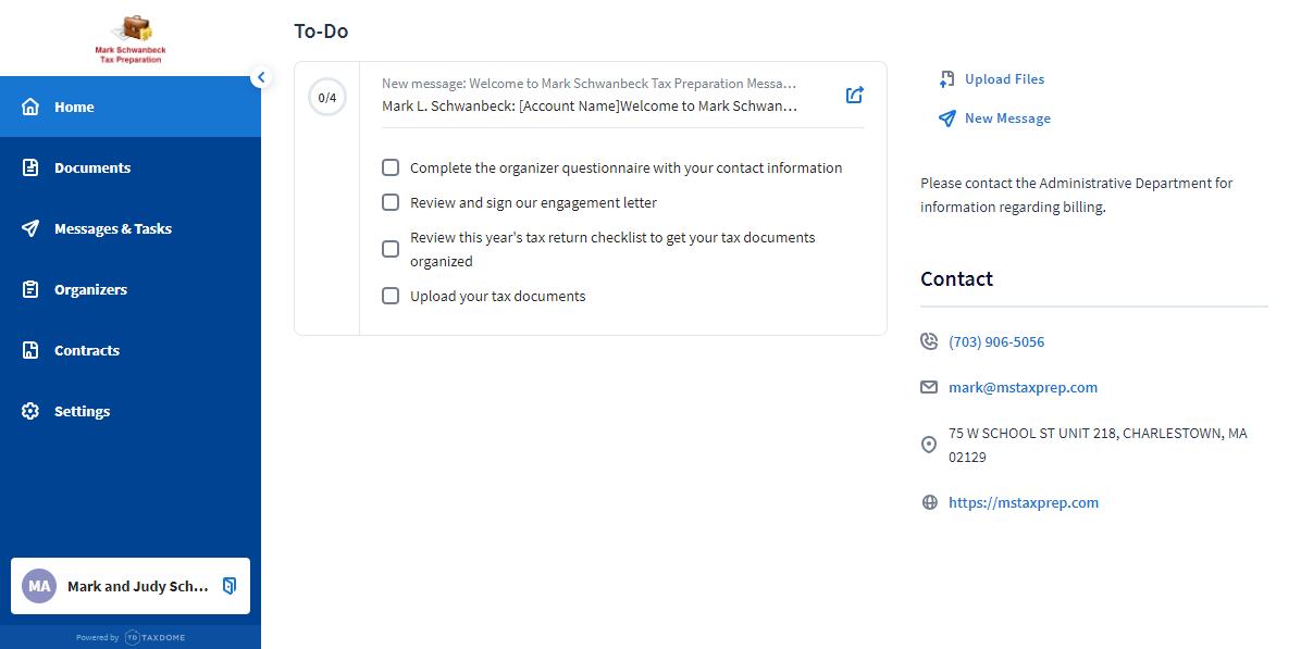 Client Web Portal Home Page