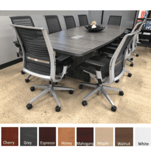 10 Feet Boat Shape Conference Table with Panel Legs - Newport Gray - 8 Colors