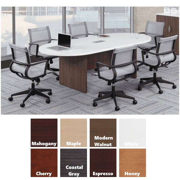 8 Boat Shape Conference Table with Panel Legs