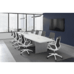 Boat Shape Conference Two-Tone Tables with Silver Recessed Pop Open Power Modules