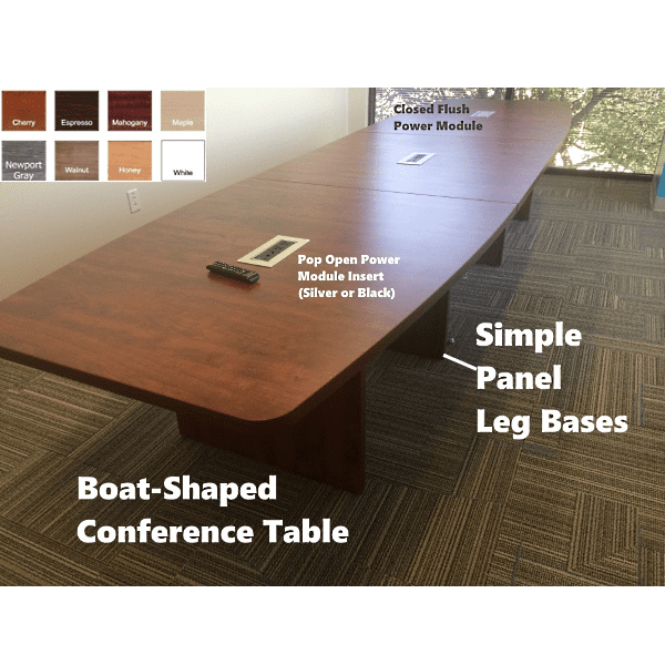 Cherry Boat Shape Conference Tables with Silver Recessed Pop Open Power Modules