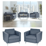 Gray Vinyl Contemporary Lounge Seating