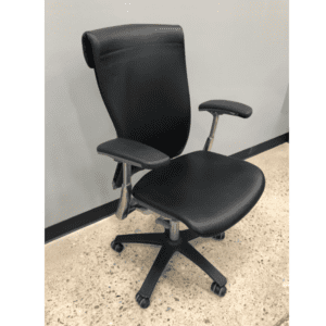 Used Knoll Life Black Leather Wrapped Office Chair