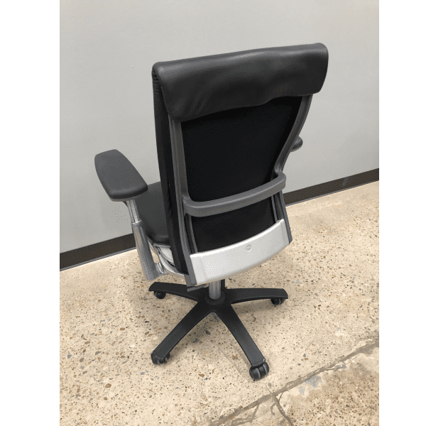 Used Knoll Life Black Leather Wrapped Office Chair - Rear