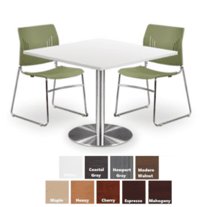 PL Square Table with Round Platform Base - 9 Finish Colors