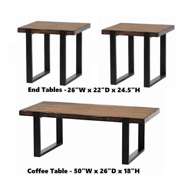 Vintage Brown Occasional Table Set - Dark Walnut Group dimensions