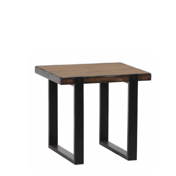 End Table with Thick Wood Top, Distressed Detailing and Sled Metal Legs in Vintage Brown and Black