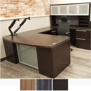 Status Series Bow Front U-Shape Desk - Right Handed Model - 90 Degree Interior - Dark Walnut