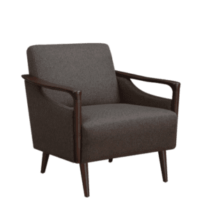 Mid-Century Brown Fabric Lounge Chair