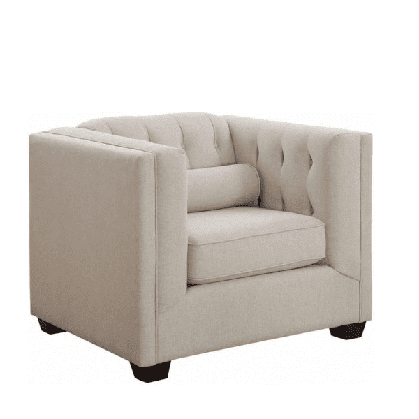 Tufted Fabric Back Lounge Chair - Oatmeal