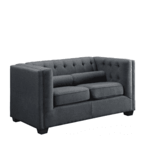 Tufted Fabric Back Loveseat - Charcoal