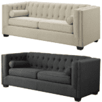 Tufted Fabric Back Sofas - Oatmeal & Charcoal Fabric