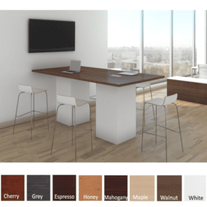 8 Feet Rectangular Shaped Conference Table - Standing Height Cube Bases - White - Walnut Top