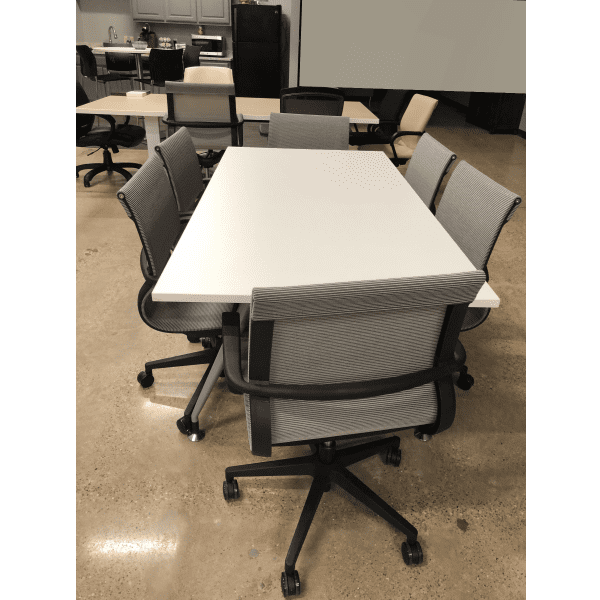 6 Feet Luna Table - Shown with Chairs
