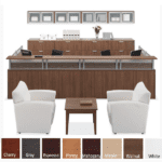 Borders Team Large U-Shape Reception Desk for Two with Interior Curve - Walnut - Rectangular Top - 8 Colors