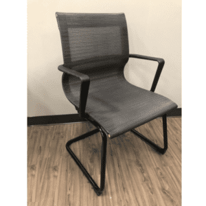 Franklin All Black Mesh Guest Chair - Black Cantilever Base