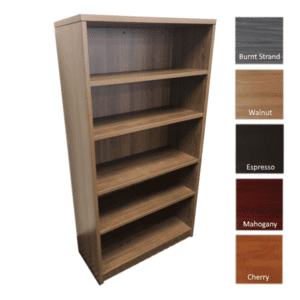 Ultra Series 5-Shelf Bookcase - Walnut Finish - 5 Colors