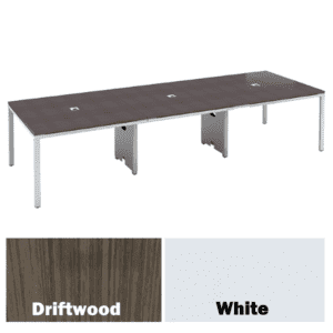 3-Piece Rectangular Conference Table - Driftwood Finish