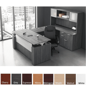 Adjustable Height Panel End U-Shape Desk - Righted Hand - Electrical Power Base - Coastal Gray Finish Color