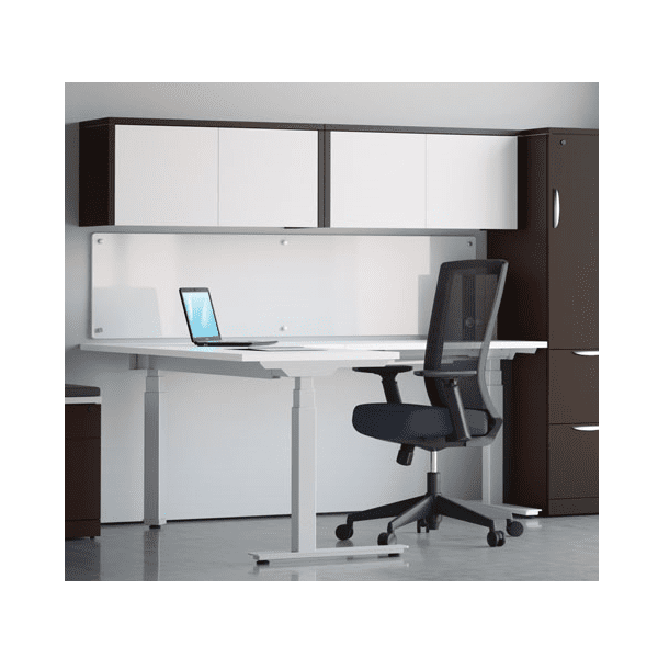 Deluxe Adjustable Height Electrical L-Shaped Desk