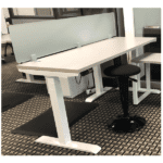 Top Mount 12 Inch Tall Frosted Green Screen on Height Adjustable Desk