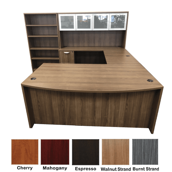 Ultra Bow Front U-Shape Desk with Hutch
