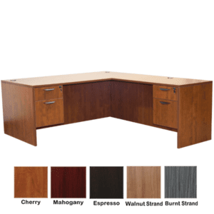 Ultra L-Shape Double Pedestal Executive Desk - Cherry Finish